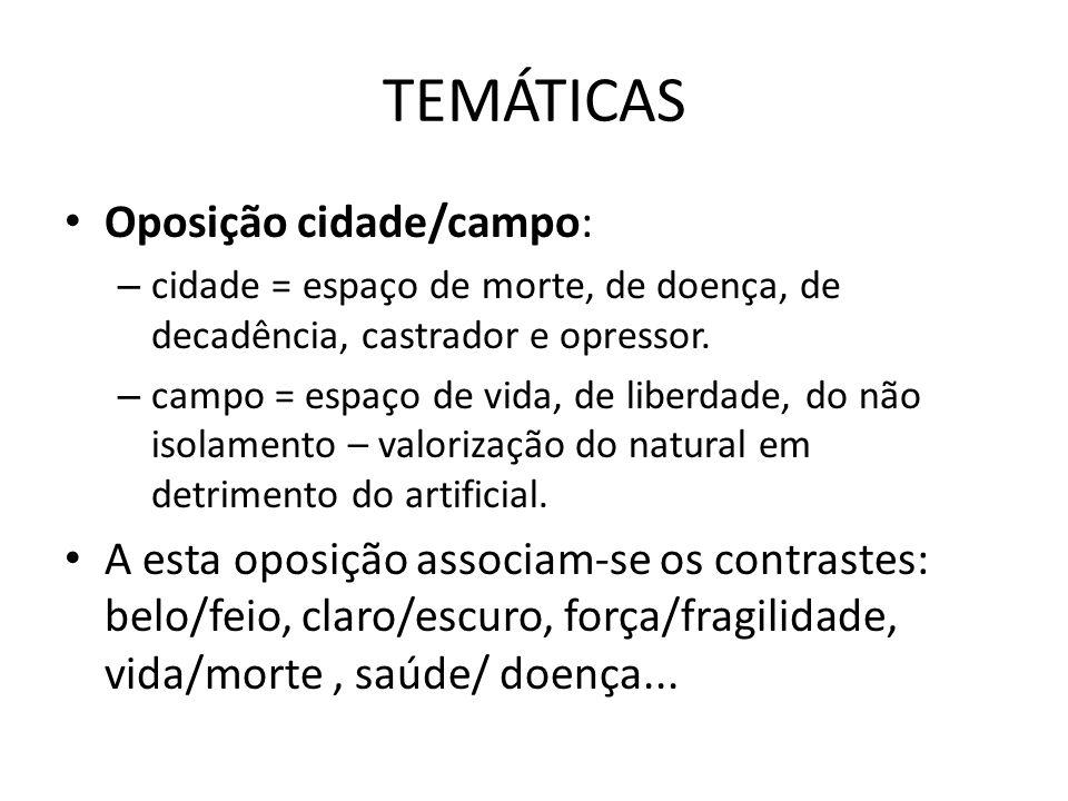 TEMÁTICAS Oposição cidade/campo: – cidade = espaço de morte, de doença, de decadência, castrador e opressor. – campo = espaço de vida, de liberdade, d