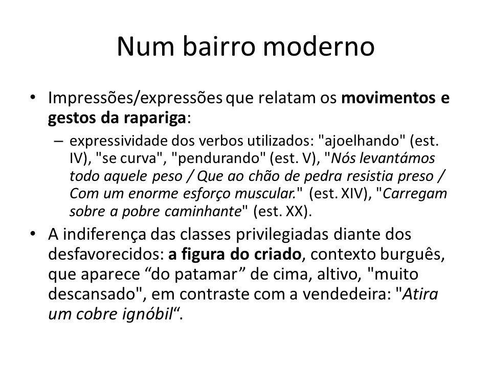Num bairro moderno Impressões/expressões que relatam os movimentos e gestos da rapariga: – expressividade dos verbos utilizados: