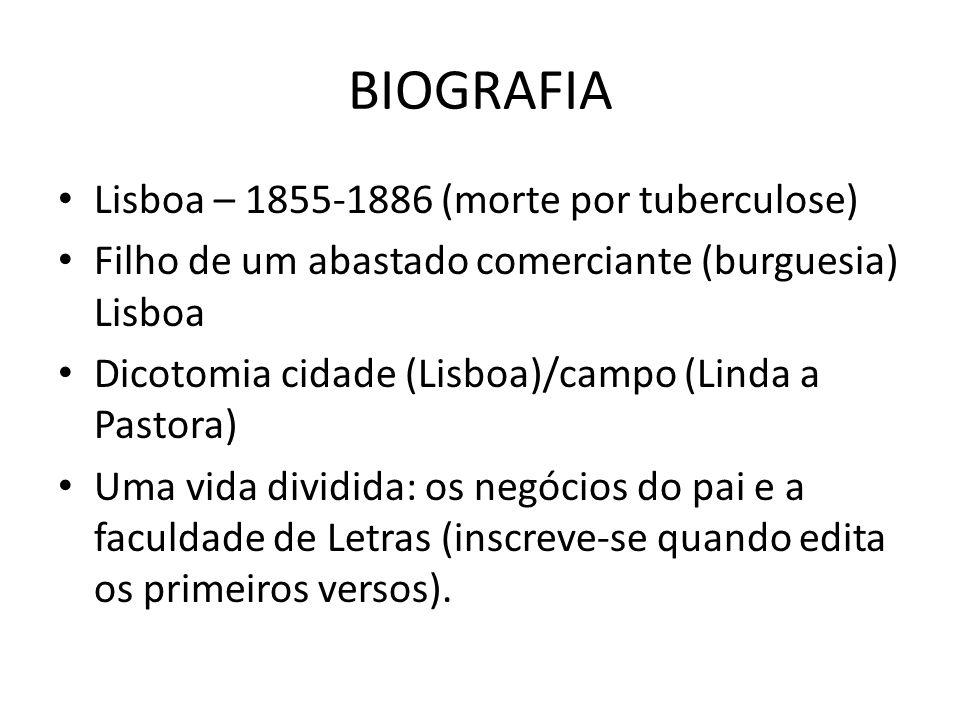 BIOGRAFIA Lisboa – 1855-1886 (morte por tuberculose) Filho de um abastado comerciante (burguesia) Lisboa Dicotomia cidade (Lisboa)/campo (Linda a Past