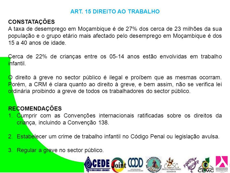 ART. 15 DIREITO AO TRABALHO CONSTATAÇÕES A taxa de desemprego em Moçambique é de 27% dos cerca de 23 milhões da sua população e o grupo etário mais af