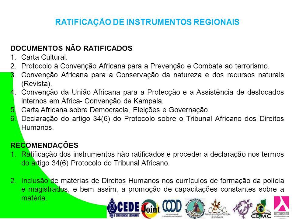 DOCUMENTOS NÃO RATIFICADOS 1.Carta Cultural. 2.Protocolo à Convenção Africana para a Prevenção e Combate ao terrorismo. 3.Convenção Africana para a Co