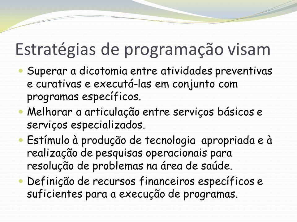Estratégias de programação visam Superar a dicotomia entre atividades preventivas e curativas e executá-las em conjunto com programas específicos. Mel