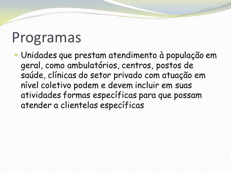 Programas Unidades que prestam atendimento à população em geral, como ambulatórios, centros, postos de saúde, clínicas do setor privado com atuação em