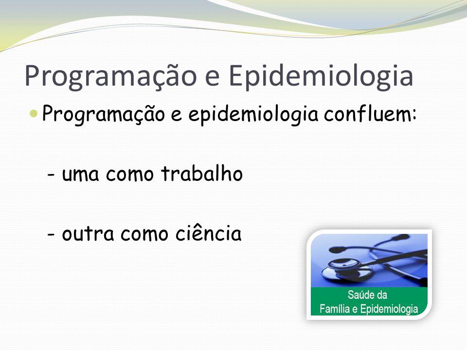 Programação e Epidemiologia Programação e epidemiologia confluem: - uma como trabalho - outra como ciência
