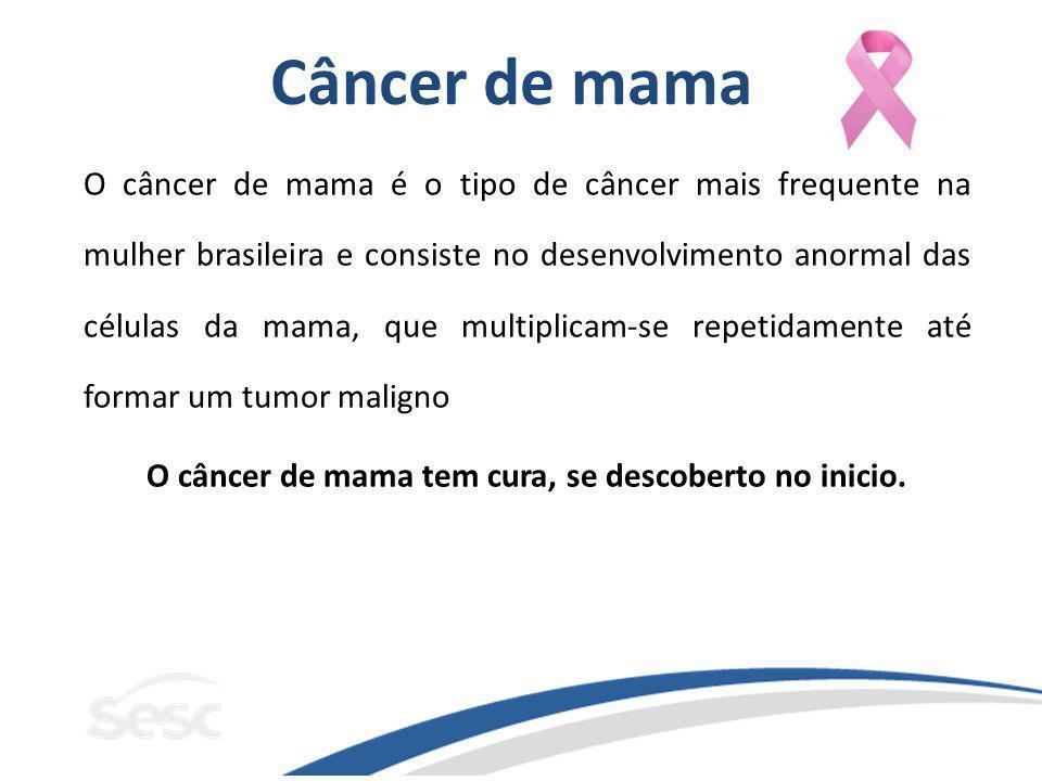 Câncer de mama O câncer de mama é o tipo de câncer mais frequente na mulher brasileira e consiste no desenvolvimento anormal das células da mama, que