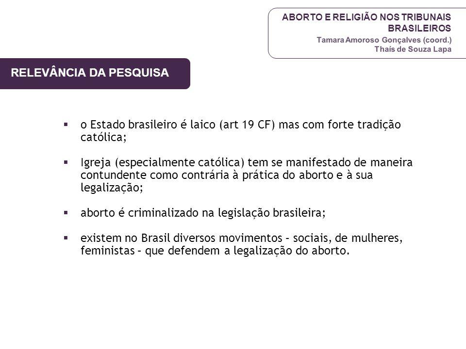 ABORTO E RELIGIÃO NOS TRIBUNAIS BRASILEIROS Tamara Amoroso Gonçalves (coord.) Thaís de Souza Lapa RELEVÂNCIA DA PESQUISA  o Estado brasileiro é laico