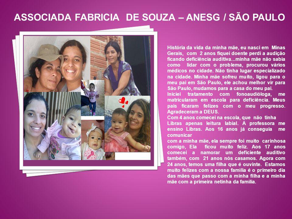 História da vida da minha mãe, eu nasci em Minas Gerais, com 2 anos fiquei doente perdi a audição ficando deficiência auditiva...minha mãe não sabia c