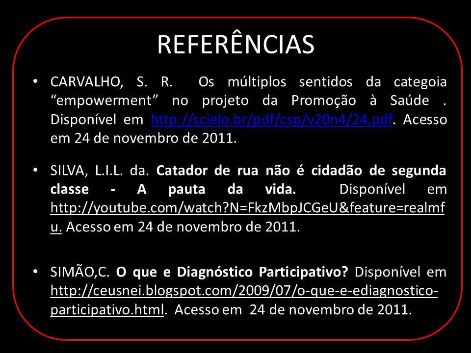REFERÊNCIAS CARVALHO, S. R.