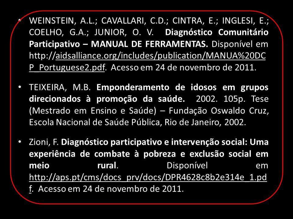 WEINSTEIN, A.L.; CAVALLARI, C.D.; CINTRA, E.; INGLESI, E.; COELHO, G.A.; JUNIOR, O.