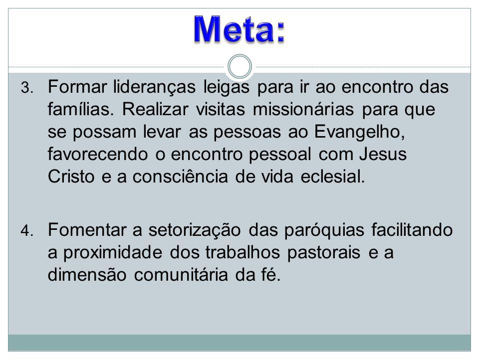 3. Formar lideranças leigas para ir ao encontro das famílias. Realizar visitas missionárias para que se possam levar as pessoas ao Evangelho, favorece
