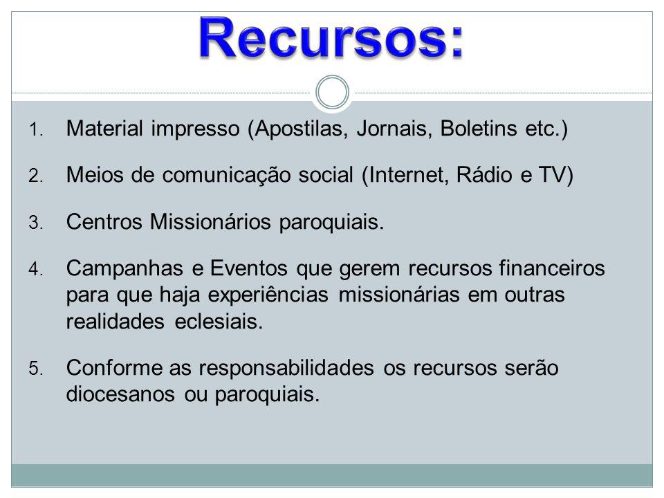 1. Material impresso (Apostilas, Jornais, Boletins etc.) 2. Meios de comunicação social (Internet, Rádio e TV) 3. Centros Missionários paroquiais. 4.