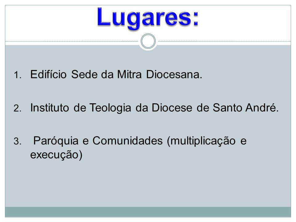 1. Edifício Sede da Mitra Diocesana. 2. Instituto de Teologia da Diocese de Santo André. 3. Paróquia e Comunidades (multiplicação e execução)