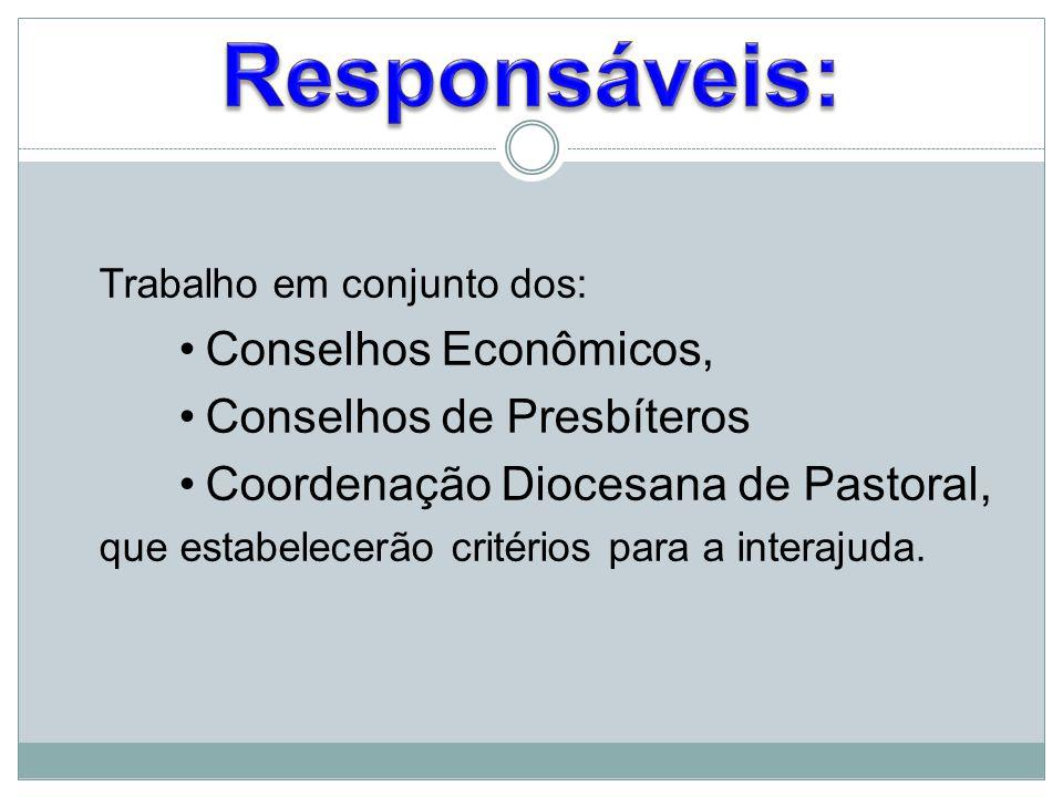 Trabalho em conjunto dos: Conselhos Econômicos, Conselhos de Presbíteros Coordenação Diocesana de Pastoral, que estabelecerão critérios para a interaj