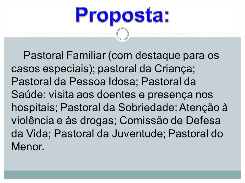 Pastoral Familiar (com destaque para os casos especiais); pastoral da Criança; Pastoral da Pessoa Idosa; Pastoral da Saúde: visita aos doentes e prese