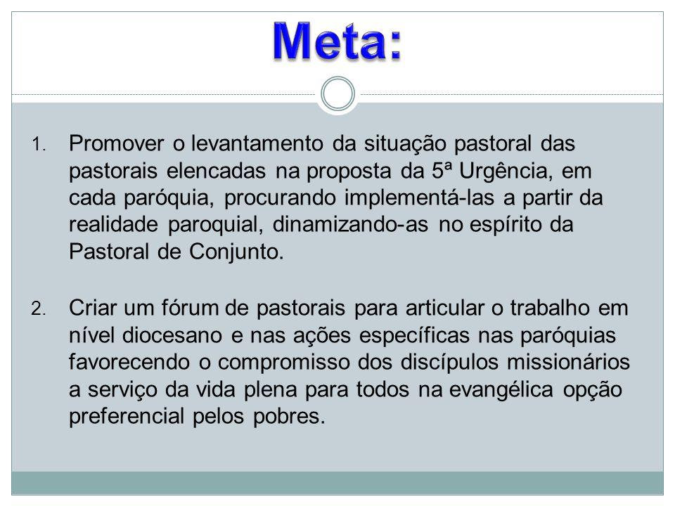 1. Promover o levantamento da situação pastoral das pastorais elencadas na proposta da 5ª Urgência, em cada paróquia, procurando implementá-las a part