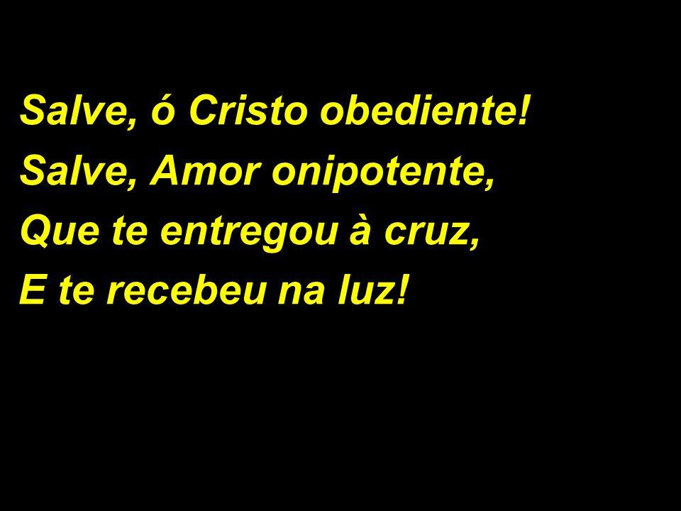 Salve, ó Cristo obediente! Salve, Amor onipotente, Que te entregou à cruz, E te recebeu na luz!