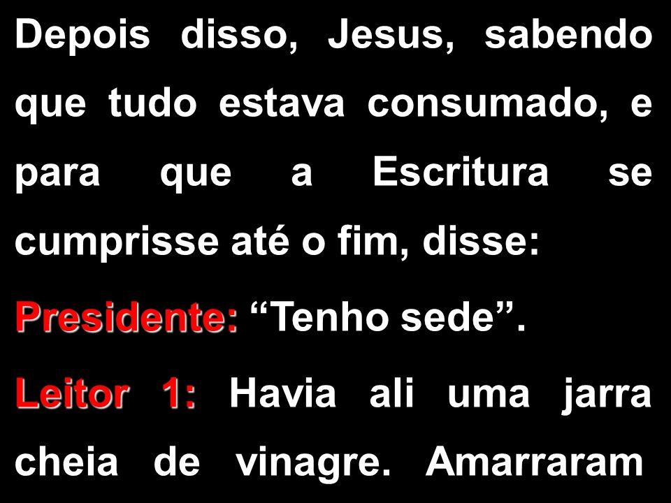 """Depois disso, Jesus, sabendo que tudo estava consumado, e para que a Escritura se cumprisse até o fim, disse: Presidente: Presidente: """"Tenho sede"""". Le"""
