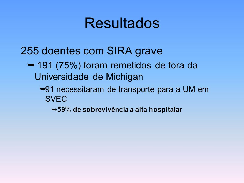 Resultados 255 doentes com SIRA grave  191 (75%) foram remetidos de fora da Universidade de Michigan  91 necessitaram de transporte para a UM em SVE