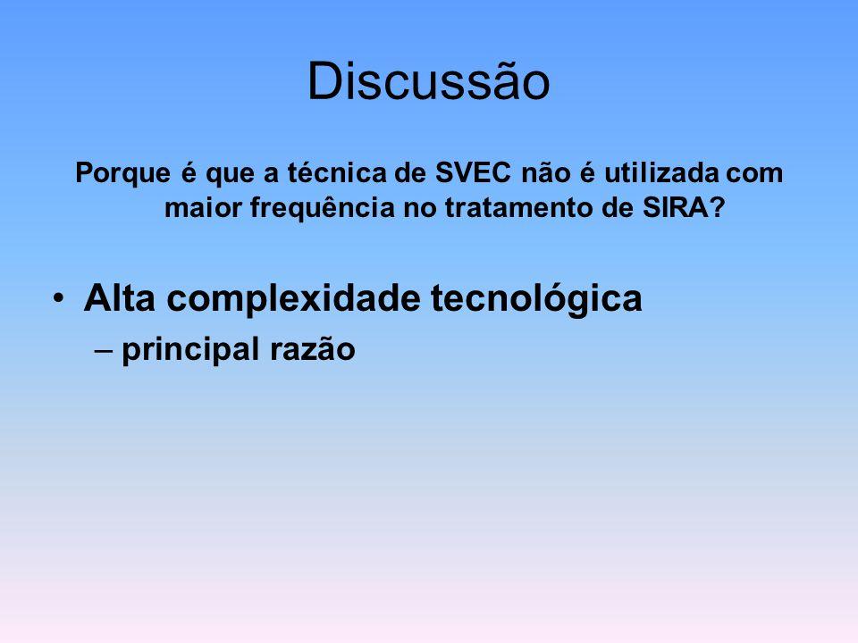 Discussão Porque é que a técnica de SVEC não é utilizada com maior frequência no tratamento de SIRA? Alta complexidade tecnológica –principal razão