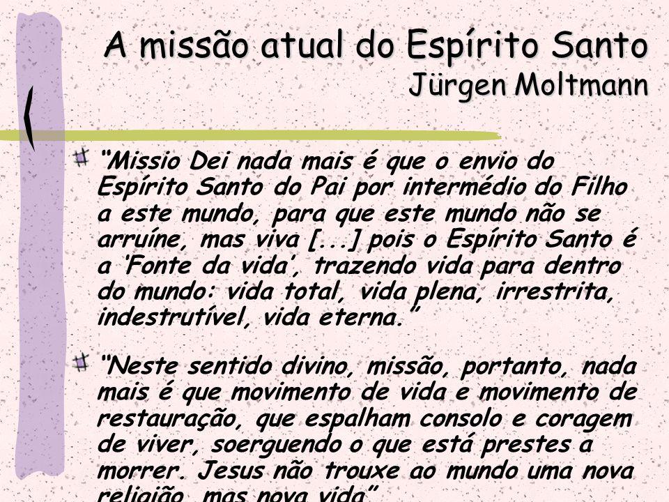 """""""Missio Dei nada mais é que o envio do Espírito Santo do Pai por intermédio do Filho a este mundo, para que este mundo não se arruíne, mas viva [...]"""