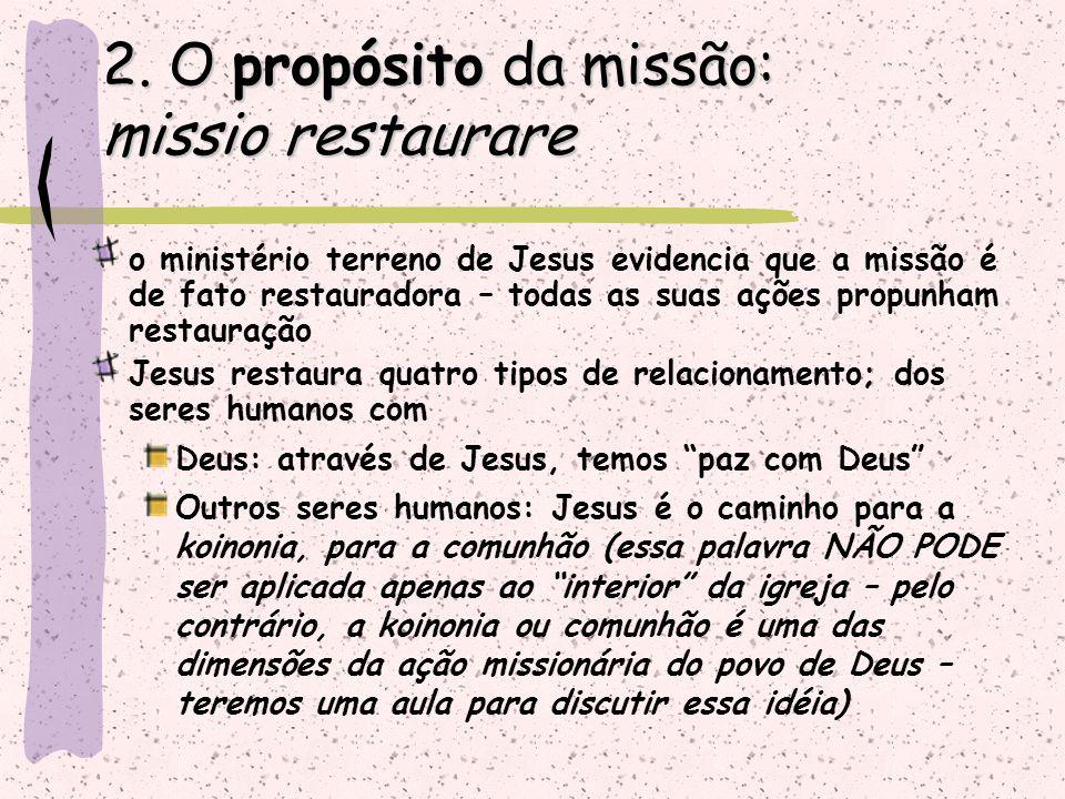 o ministério terreno de Jesus evidencia que a missão é de fato restauradora – todas as suas ações propunham restauração Jesus restaura quatro tipos de
