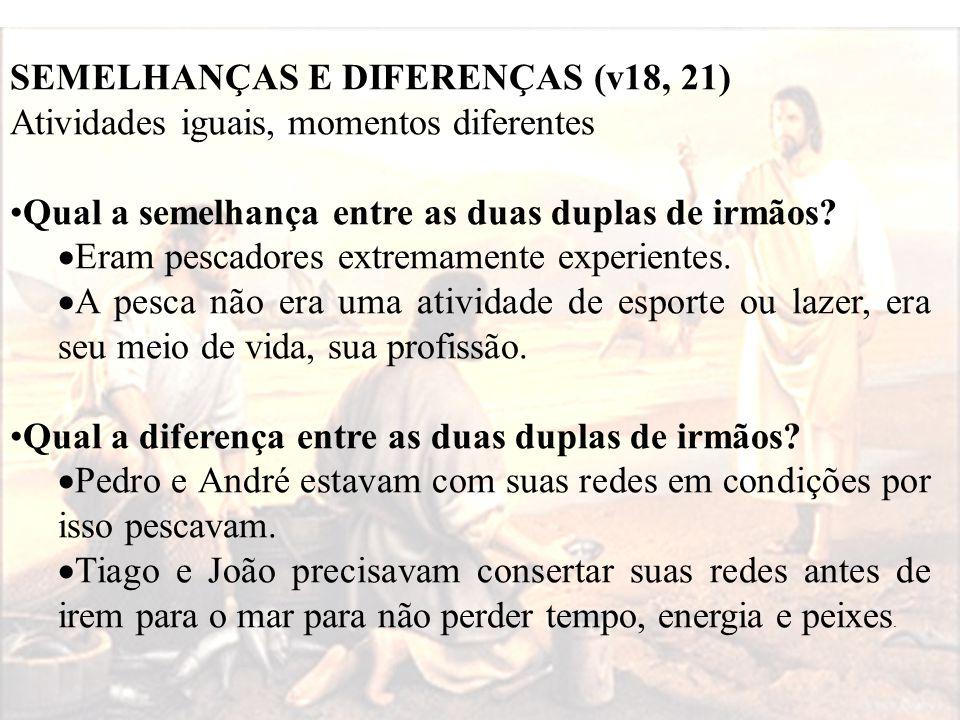 SEMELHANÇAS E DIFERENÇAS (v18, 21) Atividades iguais, momentos diferentes Qual a semelhança entre as duas duplas de irmãos?  Eram pescadores extremam