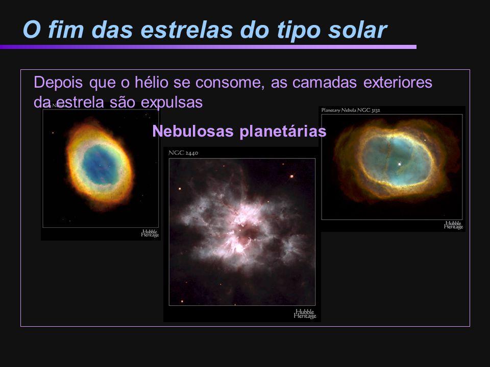 O fim das estrelas do tipo solar Nebulosas planetárias Depois que o hélio se consome, as camadas exteriores da estrela são expulsas