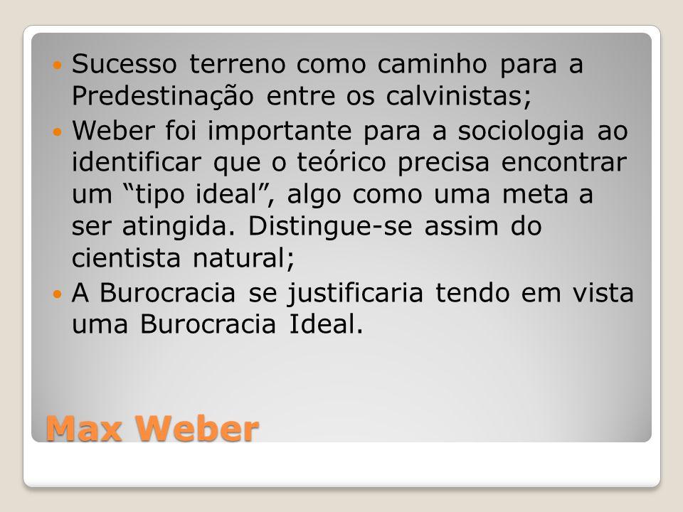 Max Weber Sucesso terreno como caminho para a Predestinação entre os calvinistas; Weber foi importante para a sociologia ao identificar que o teórico precisa encontrar um tipo ideal , algo como uma meta a ser atingida.