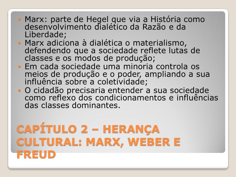 CAPÍTULO 2 – HERANÇA CULTURAL: MARX, WEBER E FREUD Marx: parte de Hegel que via a História como desenvolvimento dialético da Razão e da Liberdade; Marx adiciona à dialética o materialismo, defendendo que a sociedade reflete lutas de classes e os modos de produção; Em cada sociedade uma minoria controla os meios de produção e o poder, ampliando a sua influência sobre a coletividade; O cidadão precisaria entender a sua sociedade como reflexo dos condicionamentos e influências das classes dominantes.