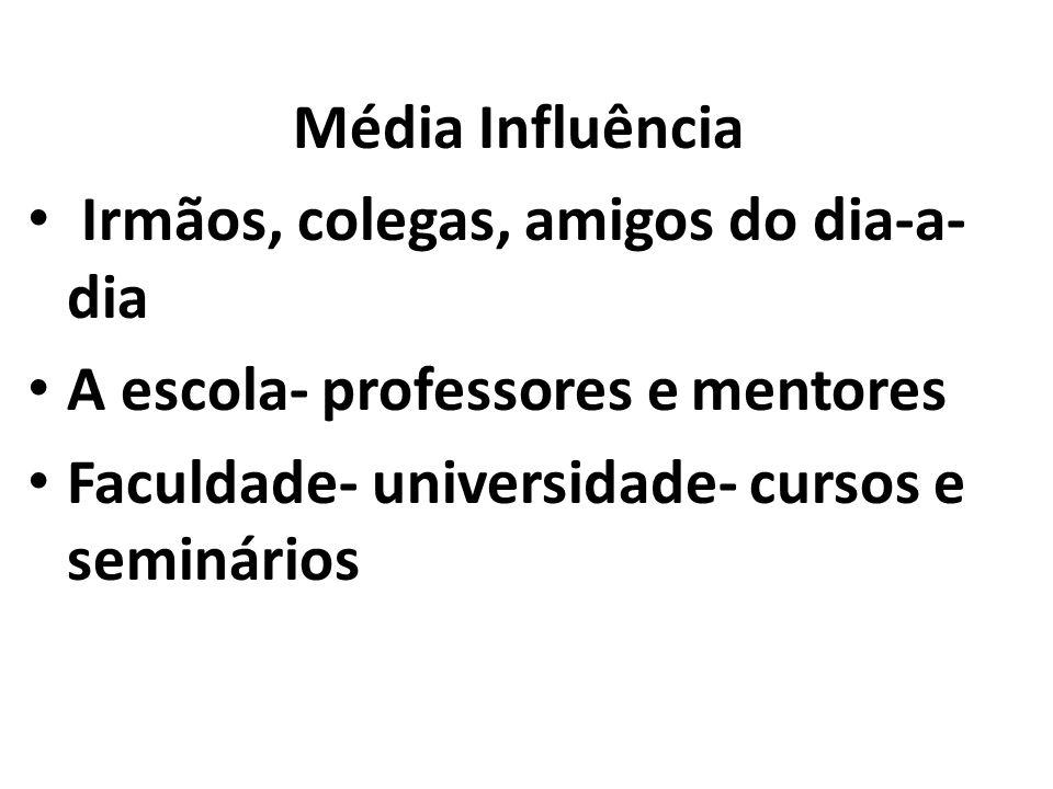 Média Influência Irmãos, colegas, amigos do dia-a- dia A escola- professores e mentores Faculdade- universidade- cursos e seminários