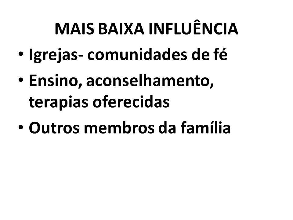MAIS BAIXA INFLUÊNCIA Igrejas- comunidades de fé Ensino, aconselhamento, terapias oferecidas Outros membros da família