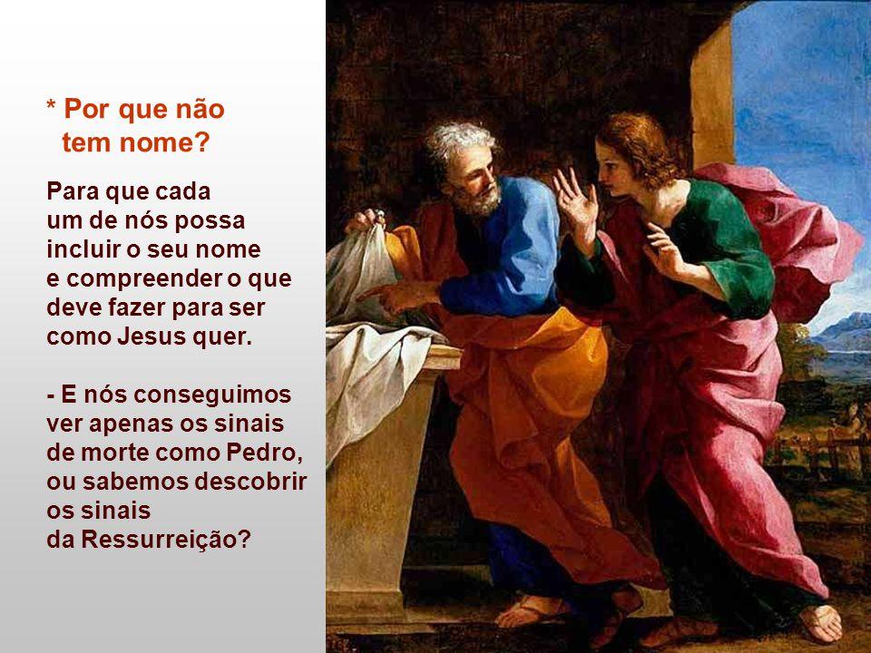 - O Discípulo que Jesus amava (João), diante do sepulcro vazio, compreende os sinais e percebe que a morte não pôs fim à vida.