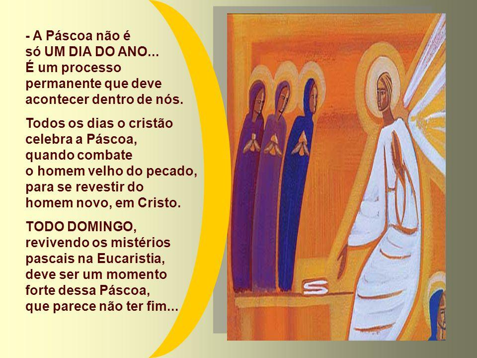 É o maior acontecimento celebrado pela Igreja, na Liturgia. Mas a Páscoa não é apenas um FATO PASSADO... Cada festa Pascal é um novo apelo de Deus, qu