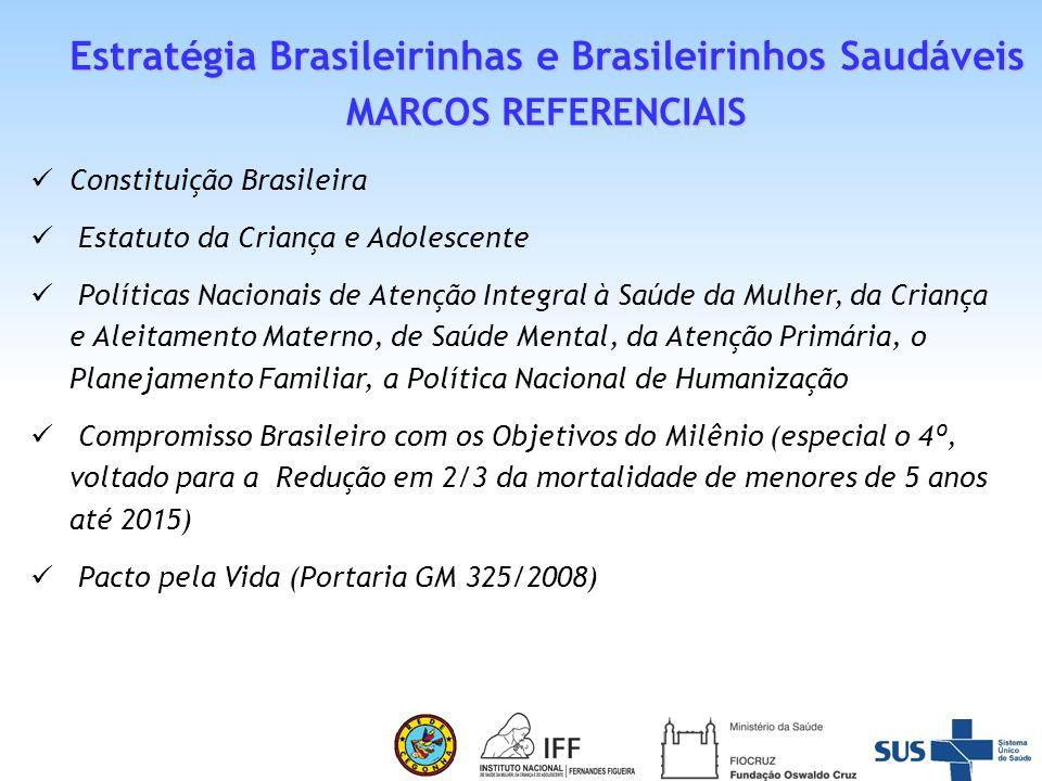 Pacto Nacional pela Redução da Mortalidade Materna e Neonatal (2004) Portaria MS/GM nº 2395 que formaliza a EBBS Pacto para a Redução das Desigualdades na Região Nordeste e Amazônia Legal(compromisso para acelerar a redução das desigualdades na Região Nordeste e Amazônia Legal 2009) Plano Brasil sem Miséria do Governo Federal e a Ação Brasil Carinhoso Rede Cegonha Estratégia Brasileirinhas e Brasileirinhos Saudáveis MARCOS REFERENCIAIS