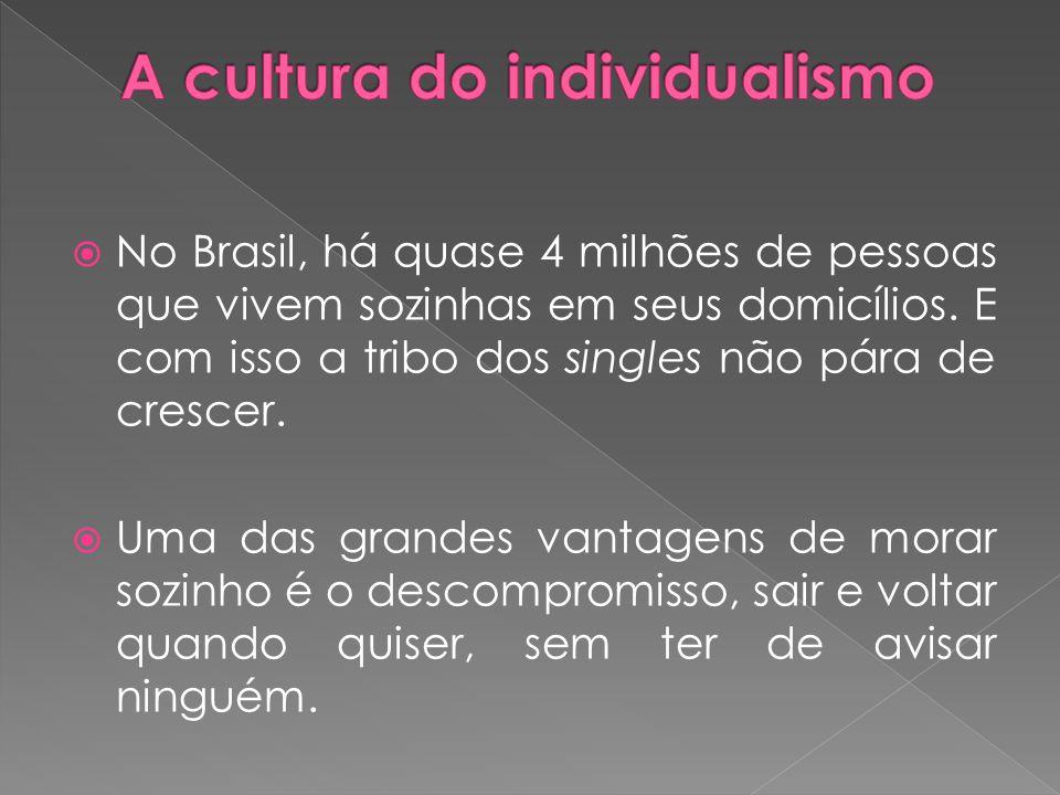  No Brasil, há quase 4 milhões de pessoas que vivem sozinhas em seus domicílios. E com isso a tribo dos singles não pára de crescer.  Uma das grande