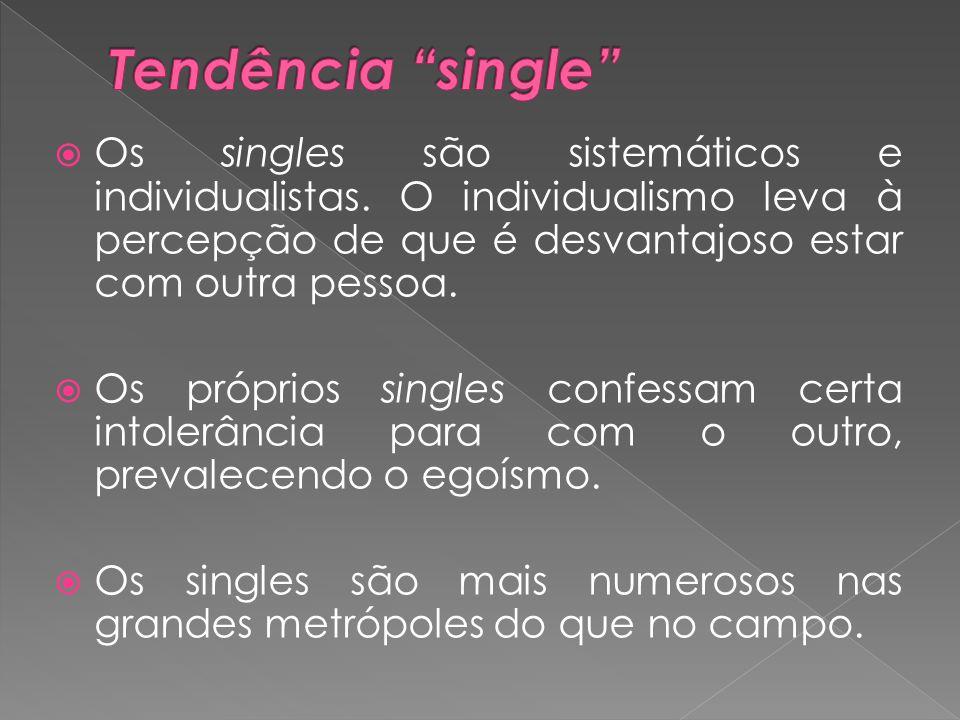  Os singles são sistemáticos e individualistas. O individualismo leva à percepção de que é desvantajoso estar com outra pessoa.  Os próprios singles