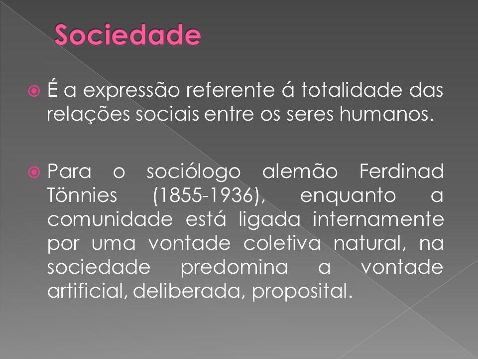  É a expressão referente á totalidade das relações sociais entre os seres humanos.  Para o sociólogo alemão Ferdinad Tönnies (1855-1936), enquanto a