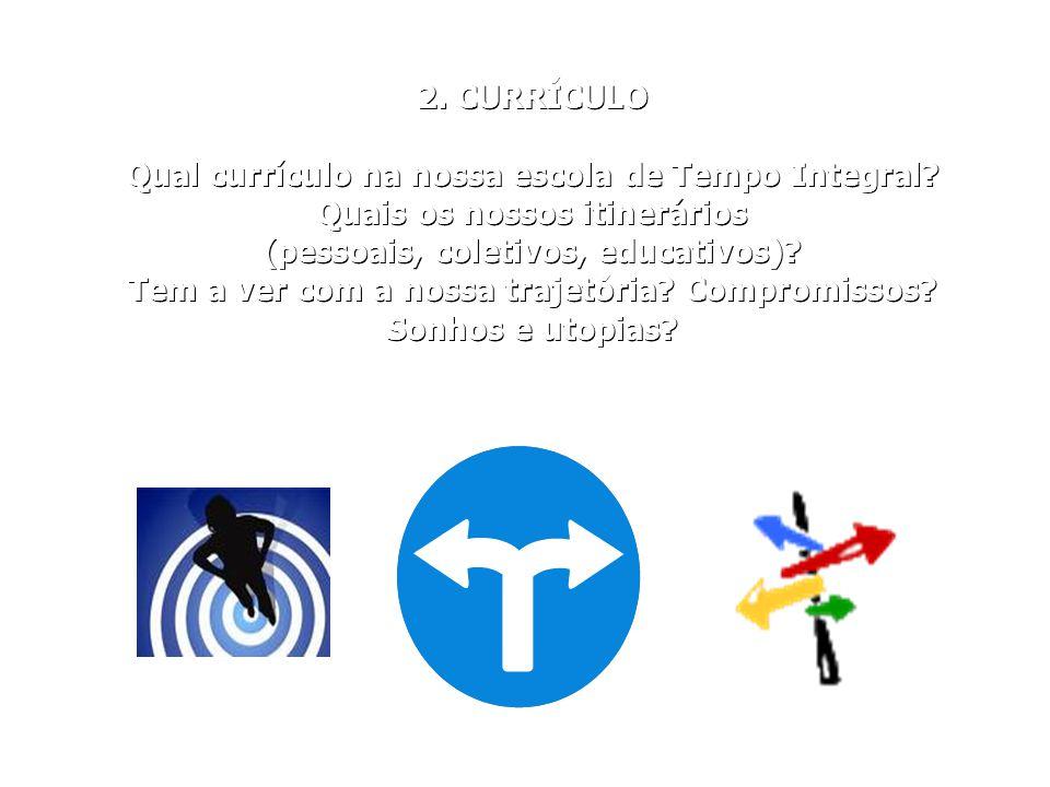2. CURRÍCULO Qual currículo na nossa escola de Tempo Integral? Quais os nossos itinerários (pessoais, coletivos, educativos)? Tem a ver com a nossa tr