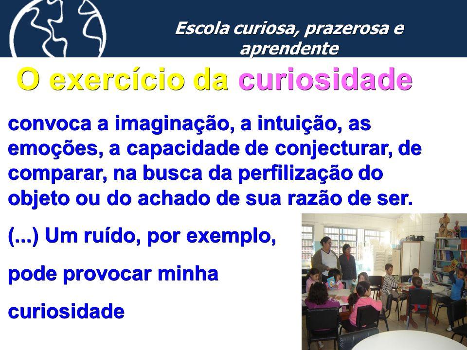 18 Escola curiosa, prazerosa e aprendente O exercício da curiosidade convoca a imaginação, a intuição, as emoções, a capacidade de conjecturar, de com