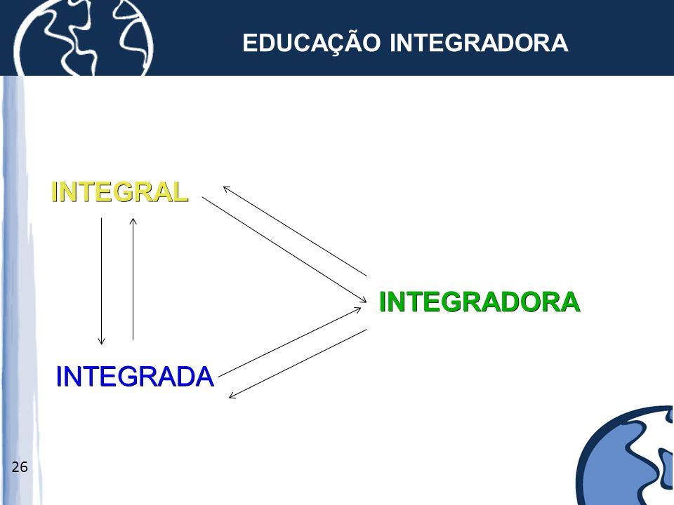 26 EDUCAÇÃO INTEGRADORA INTEGRAL INTEGRADA INTEGRADORA