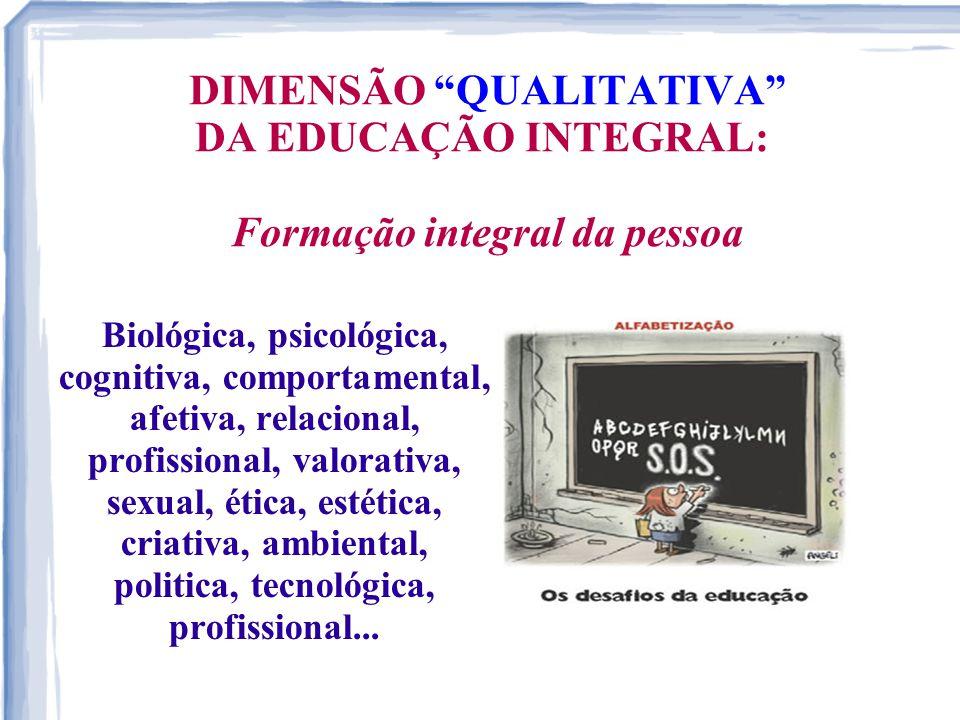 """DIMENSÃO """"QUALITATIVA"""" DA EDUCAÇÃO INTEGRAL: Formação integral da pessoa Biológica, psicológica, cognitiva, comportamental, afetiva, relacional, profi"""