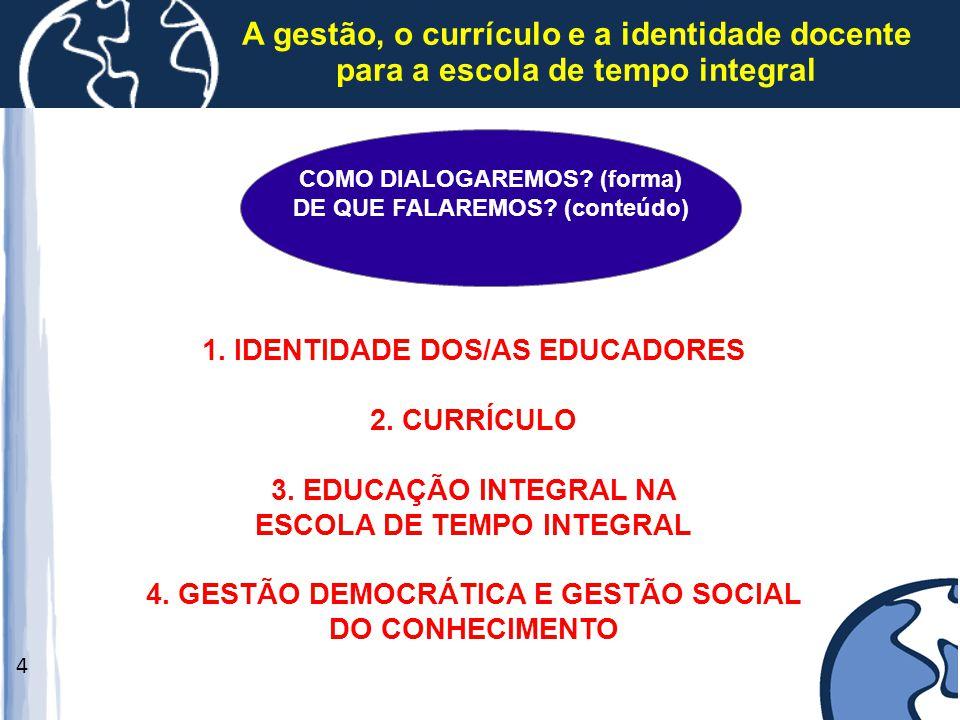A gestão, o currículo e a identidade docente para a escola de tempo integral 4 1. IDENTIDADE DOS/AS EDUCADORES 2. CURRÍCULO 3. EDUCAÇÃO INTEGRAL NA ES