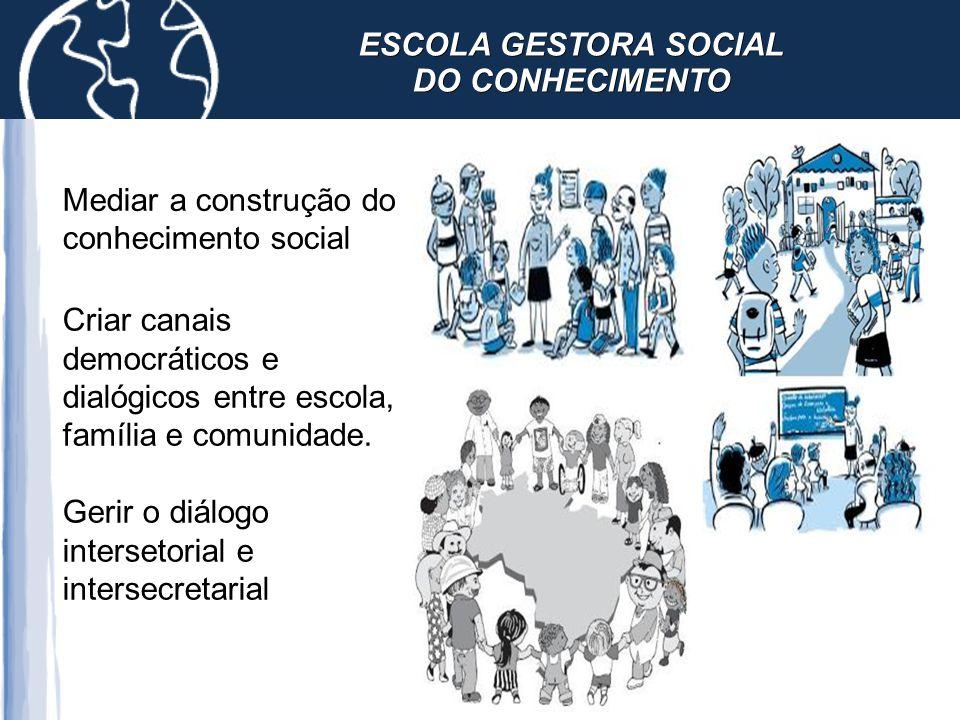 Criar canais democráticos e dialógicos entre escola, família e comunidade. Gerir o diálogo intersetorial e intersecretarial Mediar a construção do con