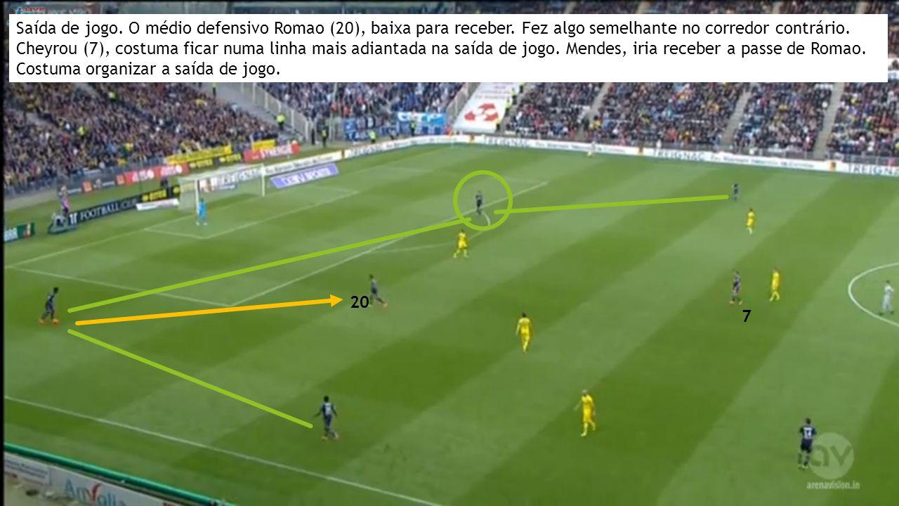 Saída de jogo. O médio defensivo Romao (20), baixa para receber.