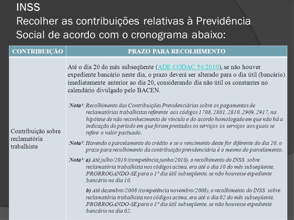 INSS Recolher as contribuições relativas à Previdência Social de acordo com o cronograma abaixo: CONTRIBUIÇÃOPRAZO PARA RECOLHIMENTO Contribuição sobr