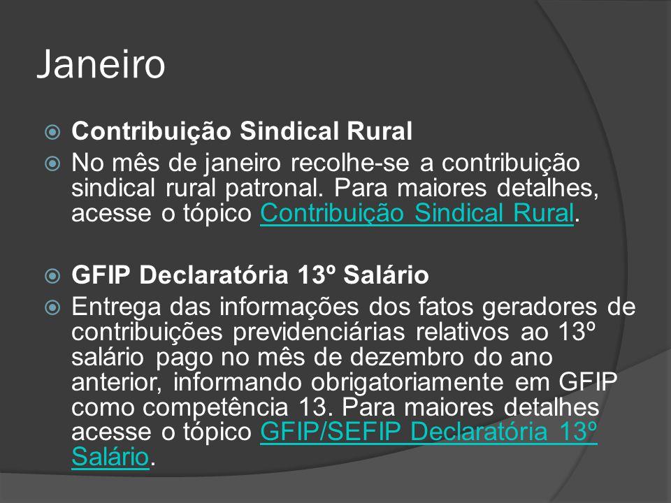 Janeiro  Contribuição Sindical Rural  No mês de janeiro recolhe-se a contribuição sindical rural patronal. Para maiores detalhes, acesse o tópico Co