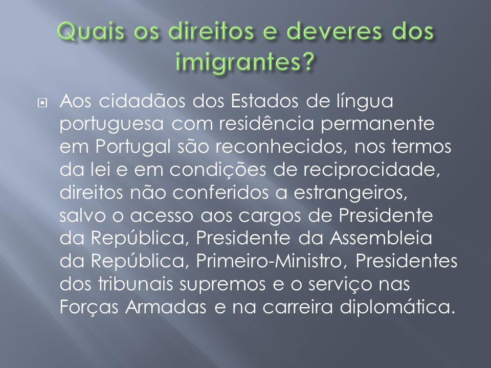  Aos cidadãos dos Estados de língua portuguesa com residência permanente em Portugal são reconhecidos, nos termos da lei e em condições de reciprocid