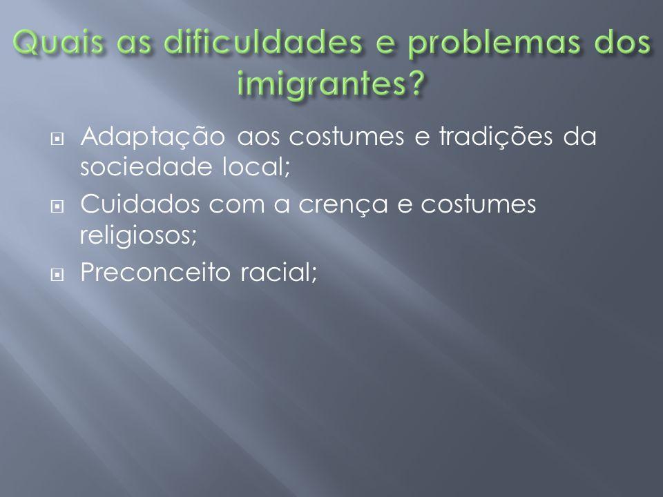  Adaptação aos costumes e tradições da sociedade local;  Cuidados com a crença e costumes religiosos;  Preconceito racial;