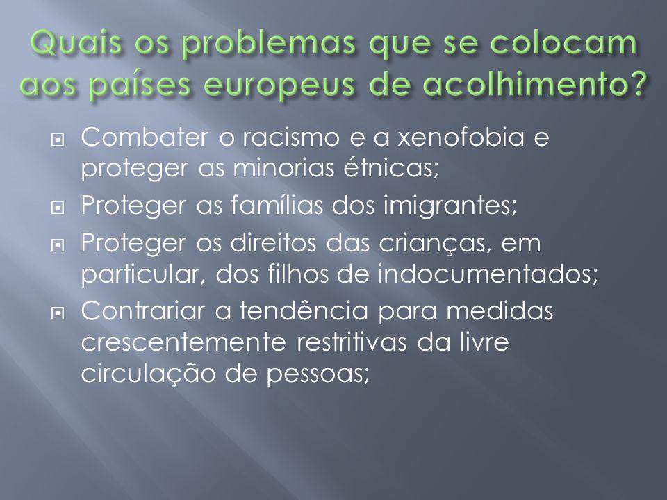  Combater o racismo e a xenofobia e proteger as minorias étnicas;  Proteger as famílias dos imigrantes;  Proteger os direitos das crianças, em part
