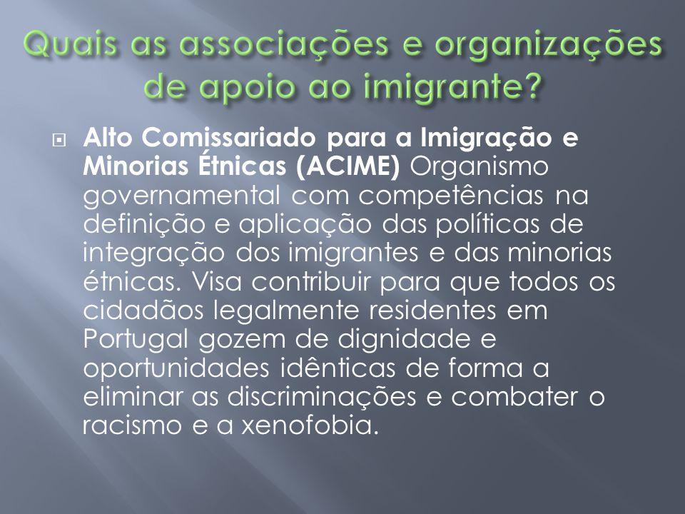  Alto Comissariado para a Imigração e Minorias Étnicas (ACIME) Organismo governamental com competências na definição e aplicação das políticas de int